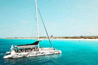 The Catamaran BlueFinn sails to the deserted island Klein Curaçao; crystal clear water, a dazzling white sandy beach and turtles