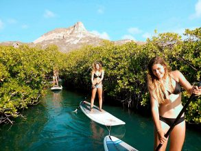A great way to explore the Spanish Water is by this stand up paddling tour